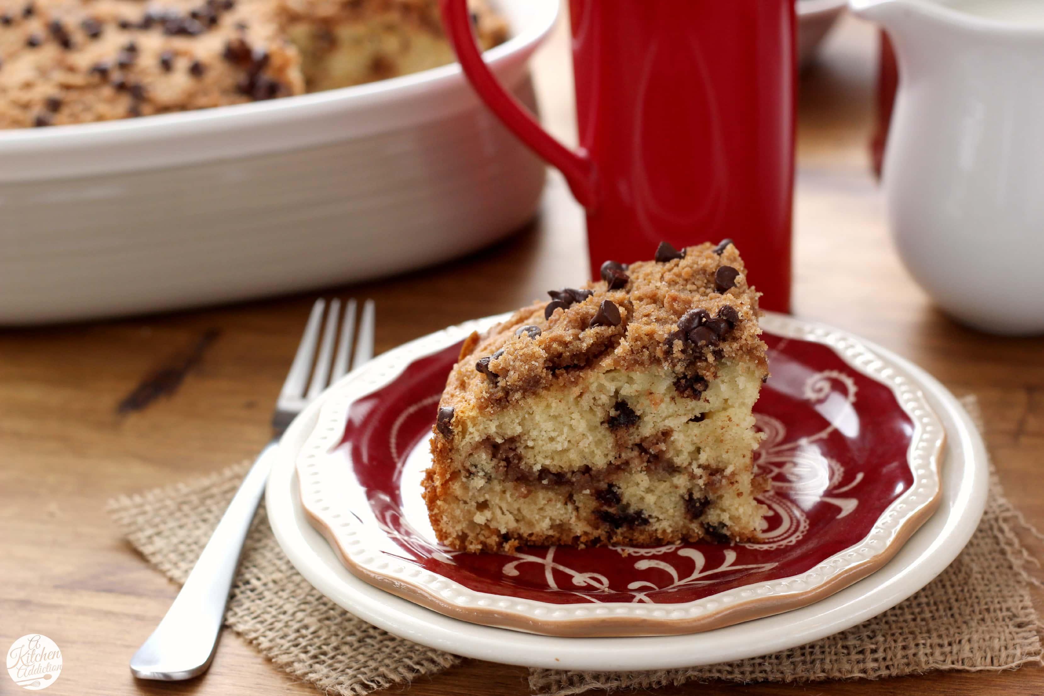 Chocolate Chip Coffee Cake Recipe l www.a-kitchen-addiction.com