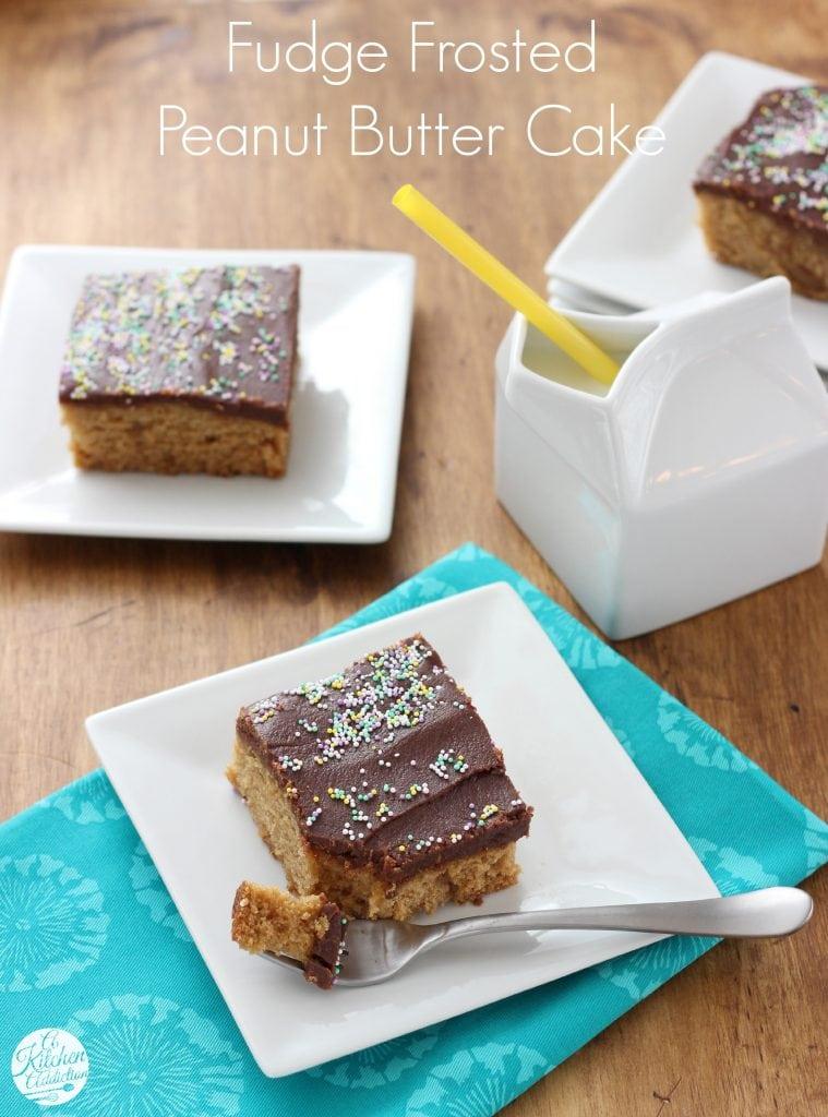 Fudge Frosted Peanut Butter Cake Recipe l www.a-kitchen-addiction.com