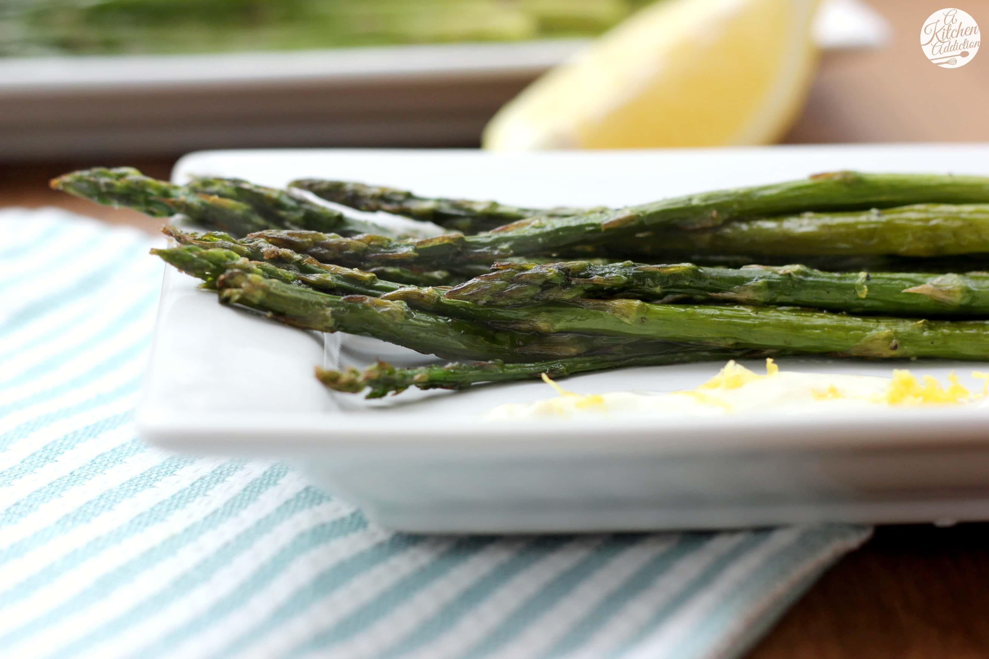 Roasted asparagus with lemon garlic yogurt sauce a kitchen addiction roasted asparagus with lemon garlic yogurt sauce recipe l a kitchen addiction ccuart Choice Image