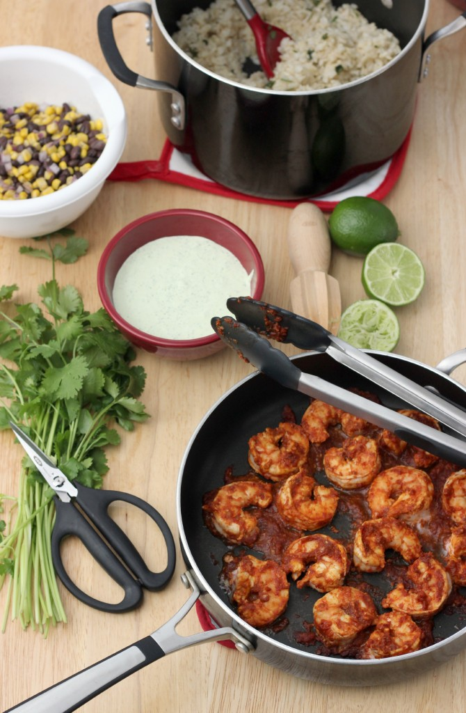 Chipotle Shrimp Bowls with Cilantro Lime Cream Sauce l www.a-kitchen-addiction.com