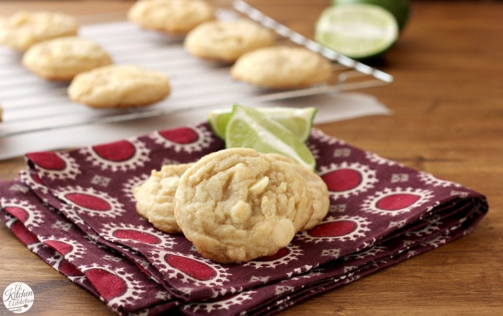 White Chocolate Lime Cookies Recipe l www.a-kitchen-addiction.com