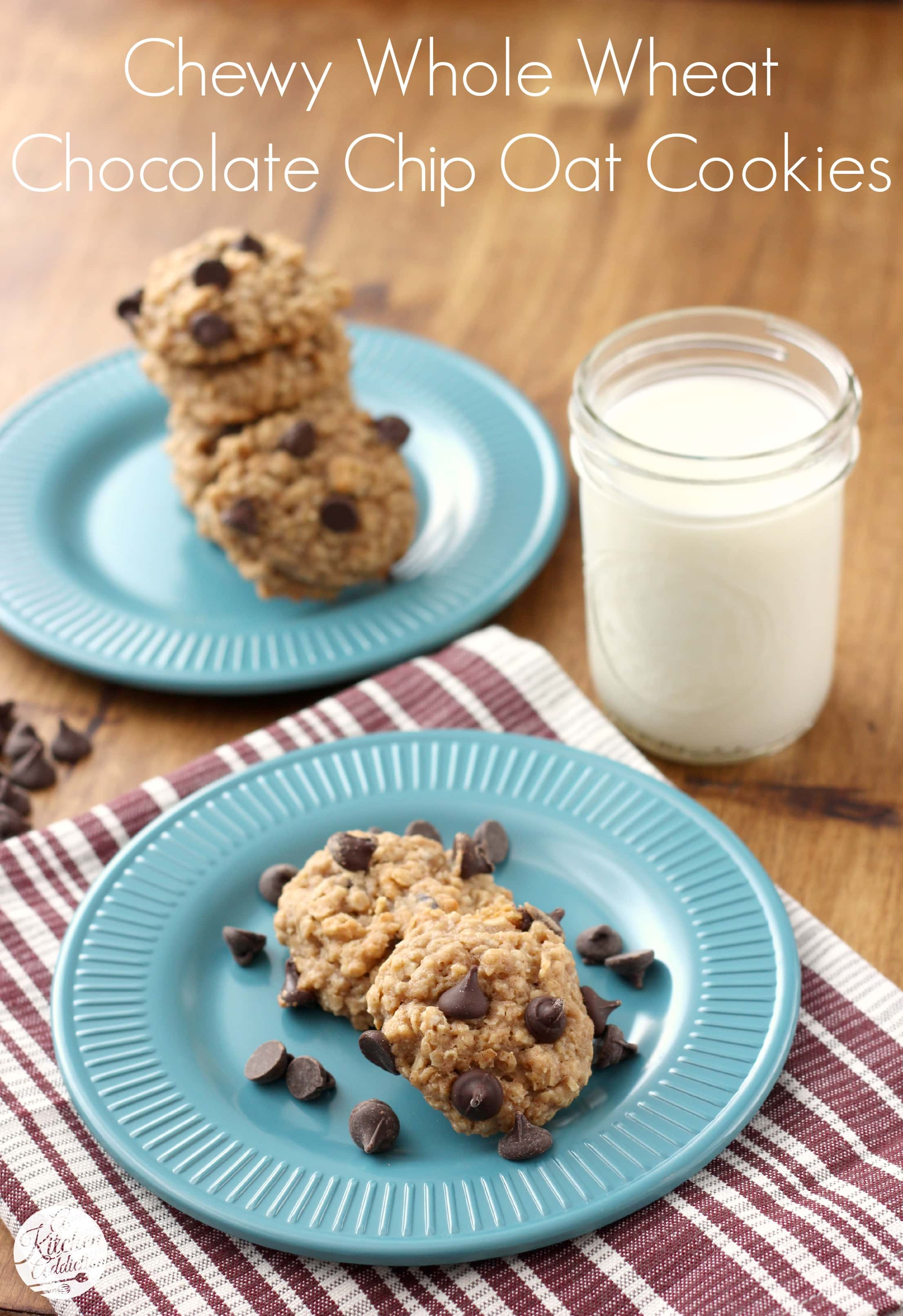 Chewy Whole Wheat Chocolate Chip Oatmeal Cookies Recipe L A Kitchen Addiction