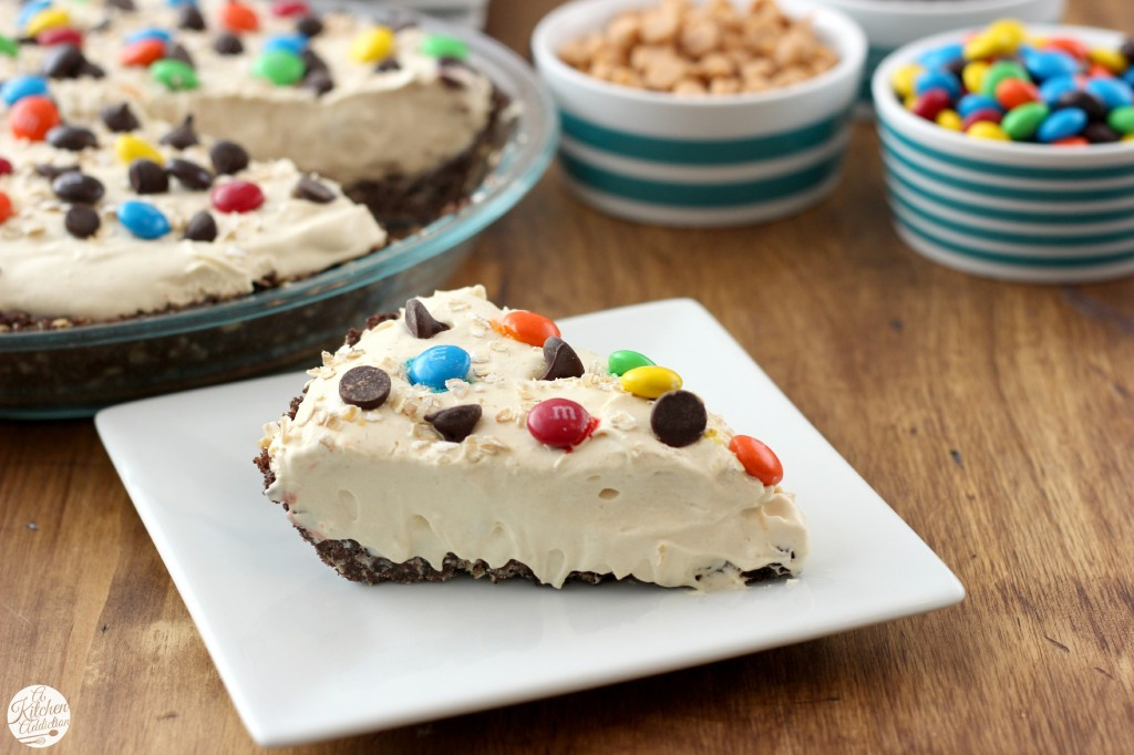 Monster Cookie Cream Pie l www.a-kitchen-addiction.com