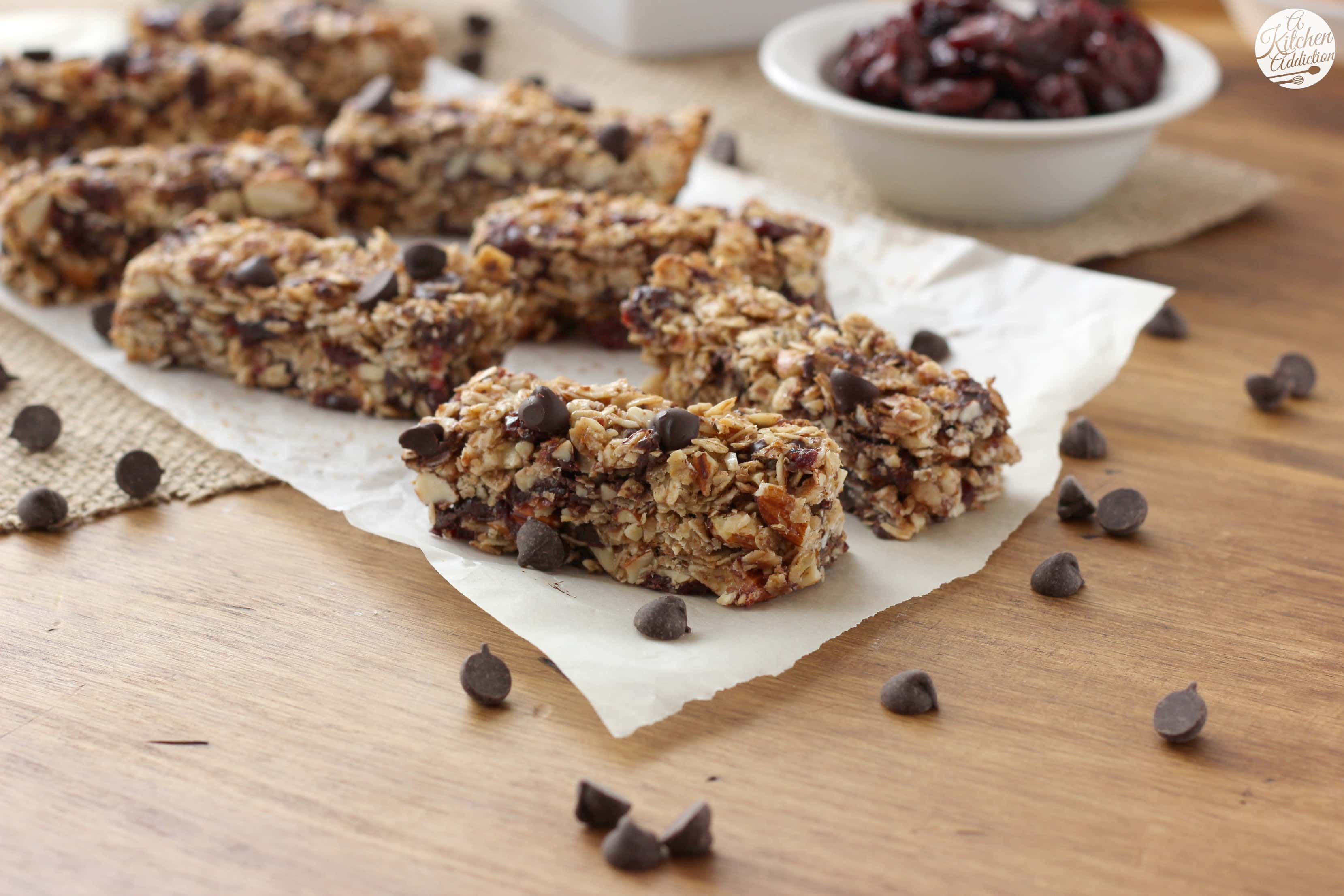 Dark Chocolate Cherry Almond Granola Bars Recipe l www.a-kitchen ...