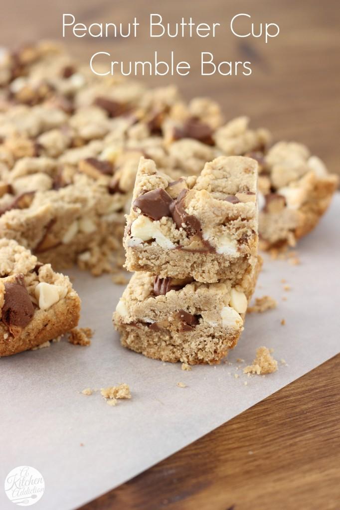 Peanut Butter Cup Crumble Bars Recipe l www.a-kitchen-addiction.com