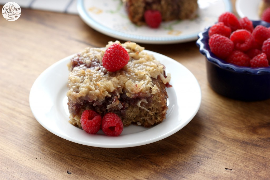 Raspberry Oatmeal Cake with Coconut Broiled Glaze Recipe l www.a-kitchen-addiction.com