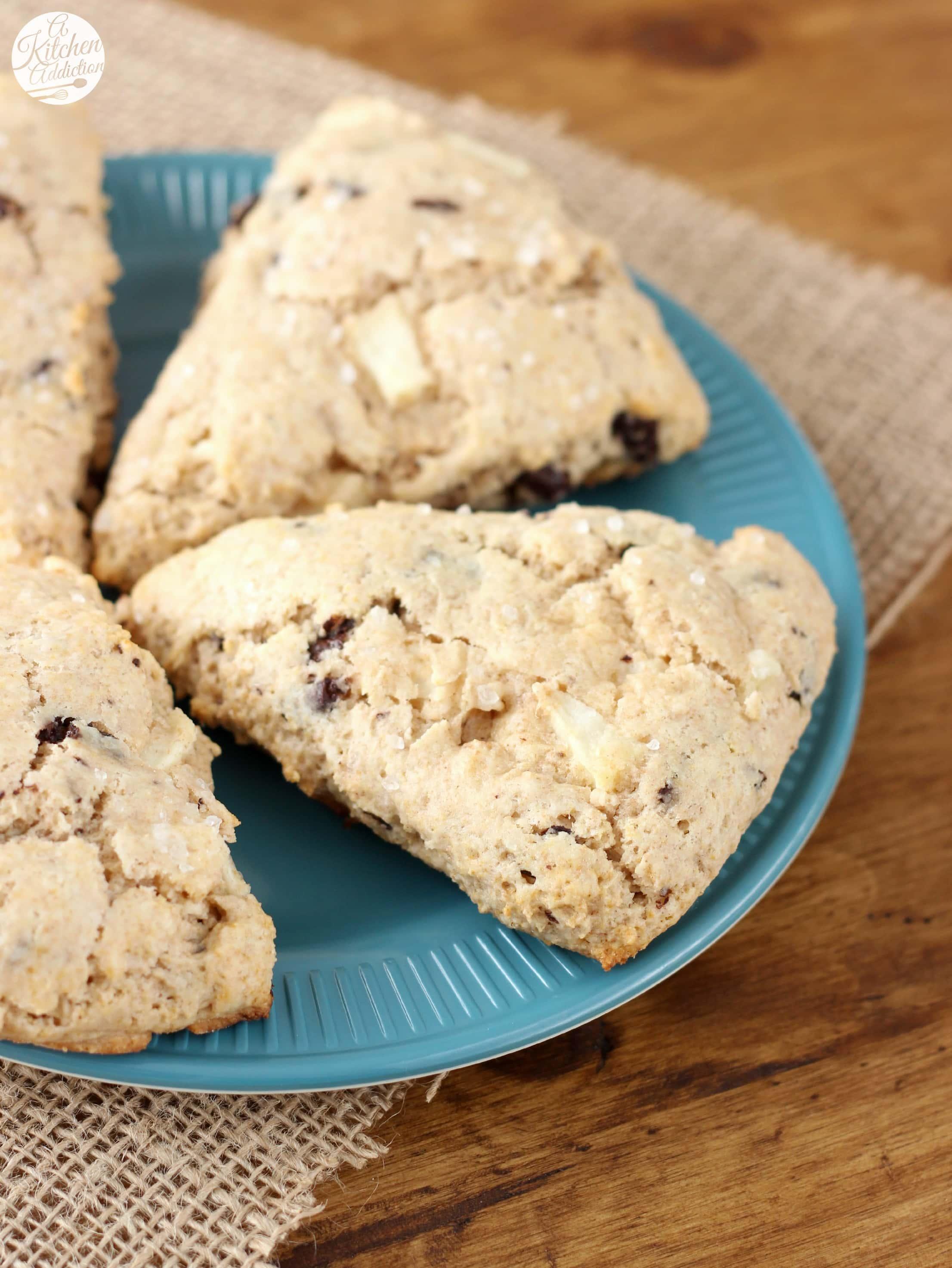 Salted Dark Chocolate Pear Scones Recipe l www.a-kitchen-addiction.com
