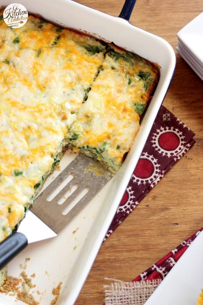 Cheesy Spinach and Artichoke Egg Bake Recipe l www.a-kitchen-addiction.com
