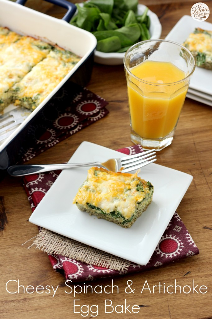 Cheesy Spinach and Artichoke Egg Bake Recipe l www.a-kitchen-addiction.com