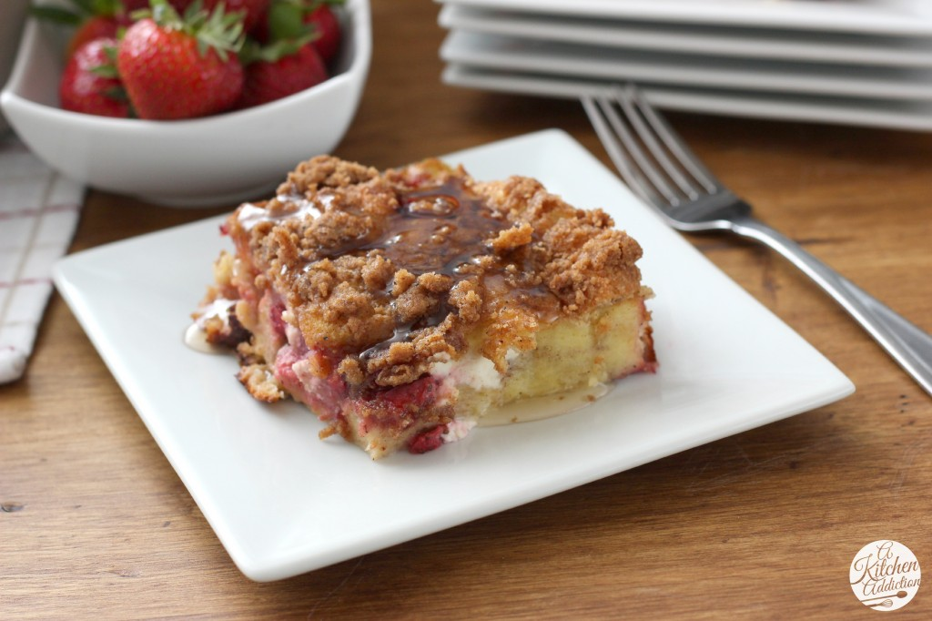 Strawberries and Cream French Toast Bake Recipe l www.a-kitchen-addiction.com