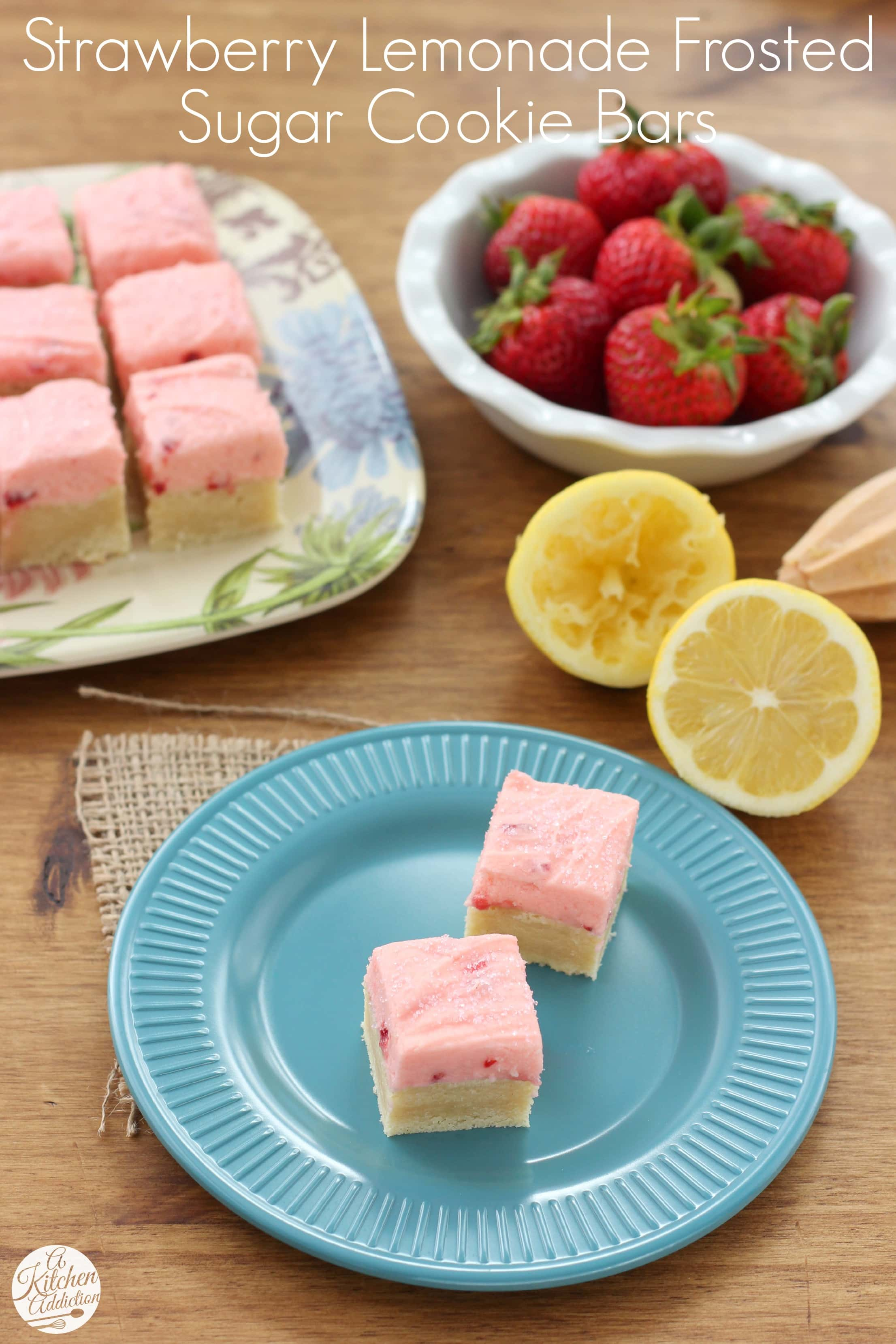 Strawberry Lemonade Frosted Sugar Cookie Bars - A Kitchen Addiction
