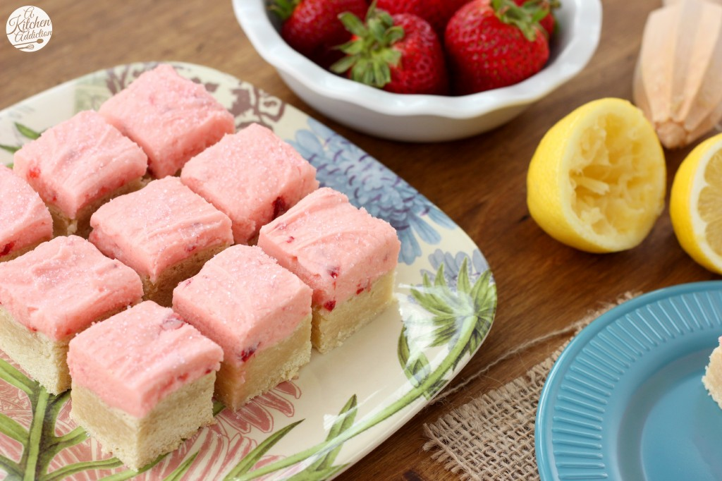 Strawberry Lemonade Frosted Sugar Cookie Bars Recipe l www.a-kitchen-addiction.com