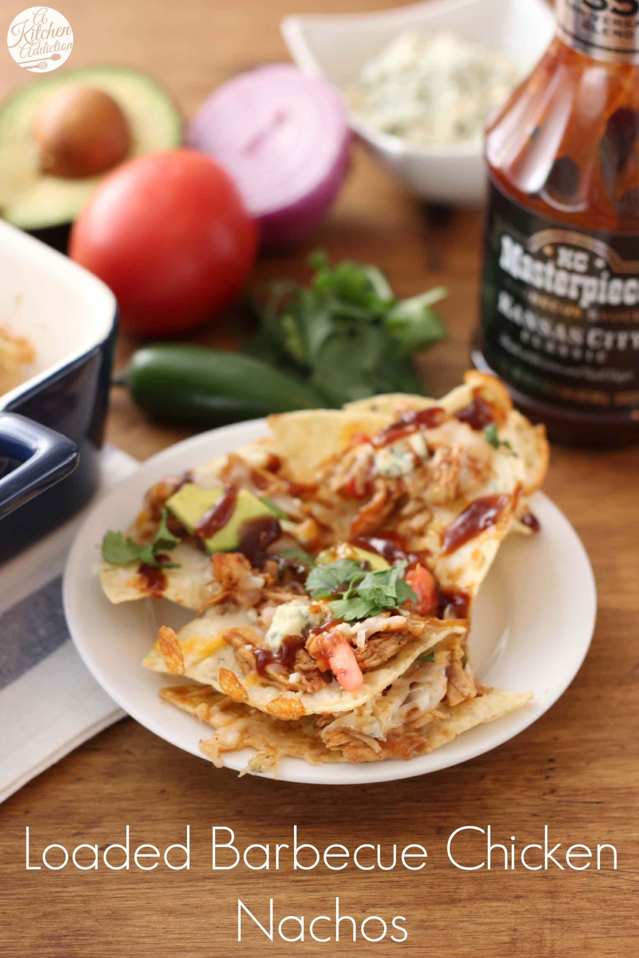 Loaded Barbecue Chicken Nachos Recipe from A Kitchen Addiction