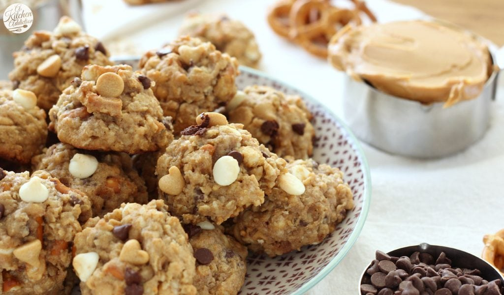 Loaded Peanut Butter Pretzel Cookies Recipe from A Kitchen Addiction