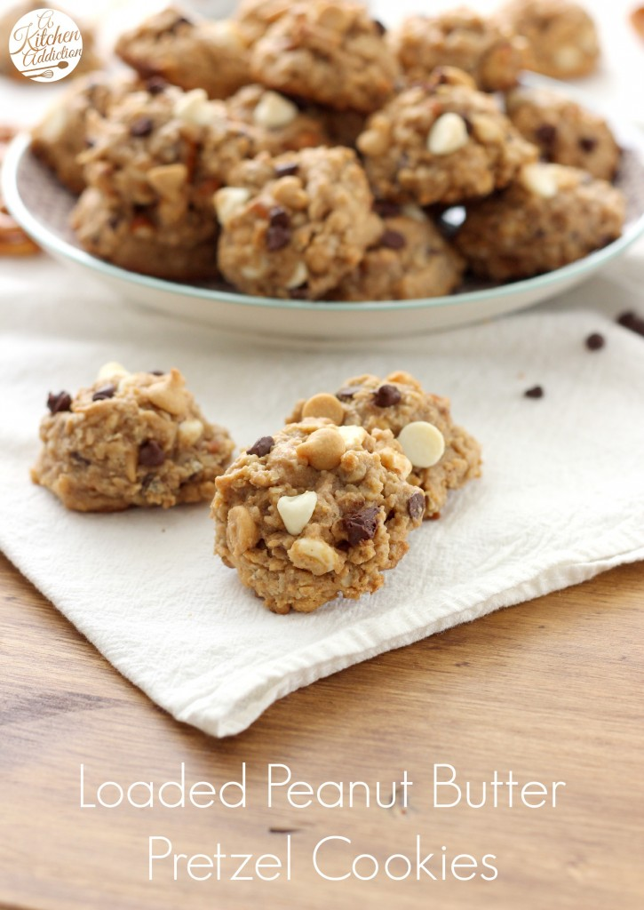 Loaded Peanut Butter Pretzel Oatmeal Cookies Recipe from A Kitchen Addiction