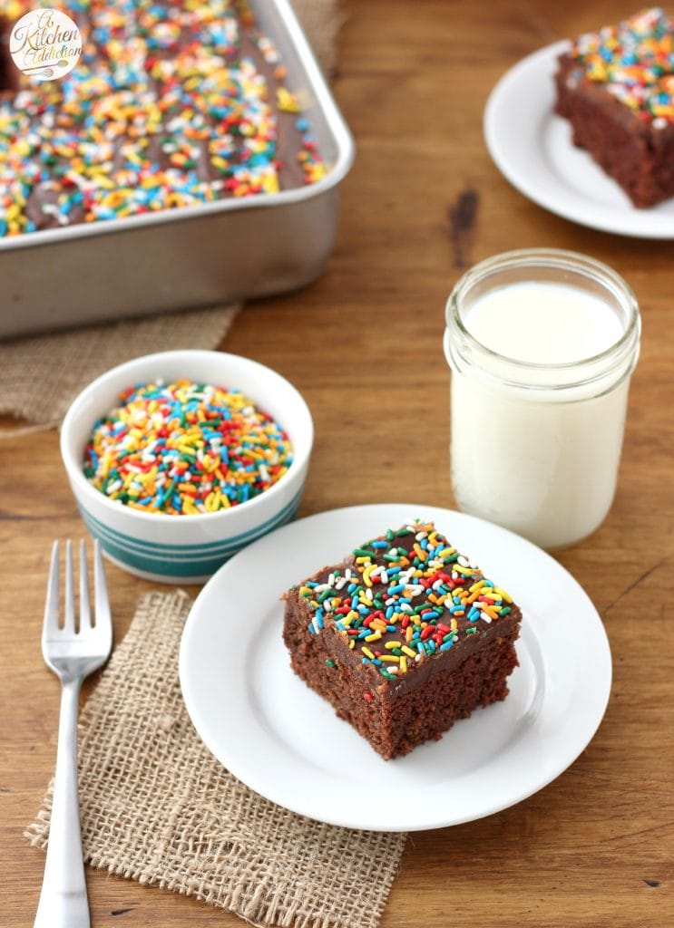 Wacky Cake with No-Fail Fudge Frosting l www.a-kitchen-addiction.com