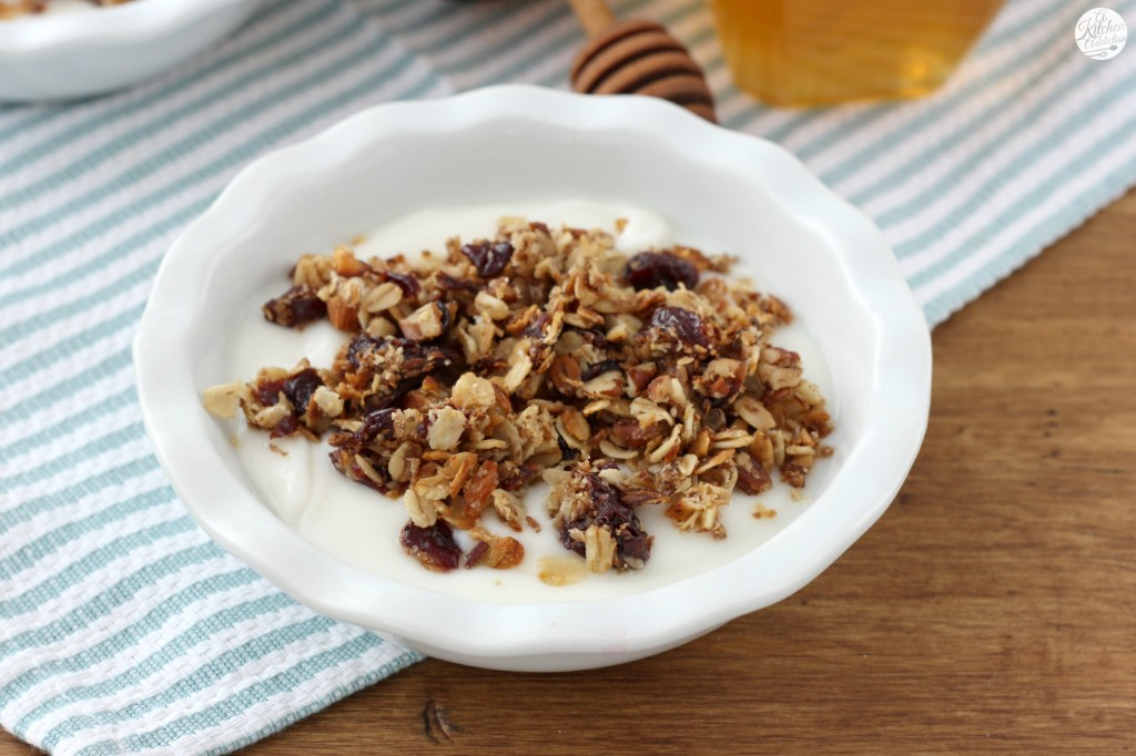 Cherry Vanilla Nut Skillet Granola - A Kitchen Addiction
