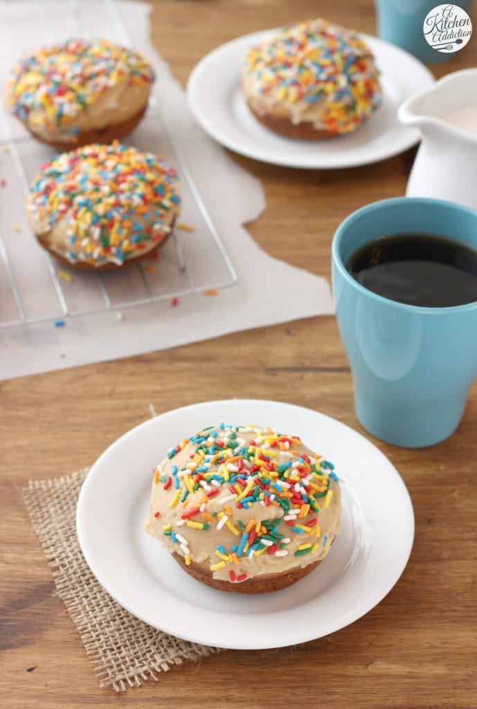 Baked Chocolate Donuts with Peanut Butter Glaze Recipe from A Kitchen Addiction