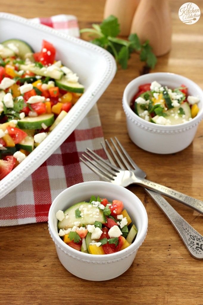 Easy Cucumber Tomato Salad Recipe from A Kitchen Addiction