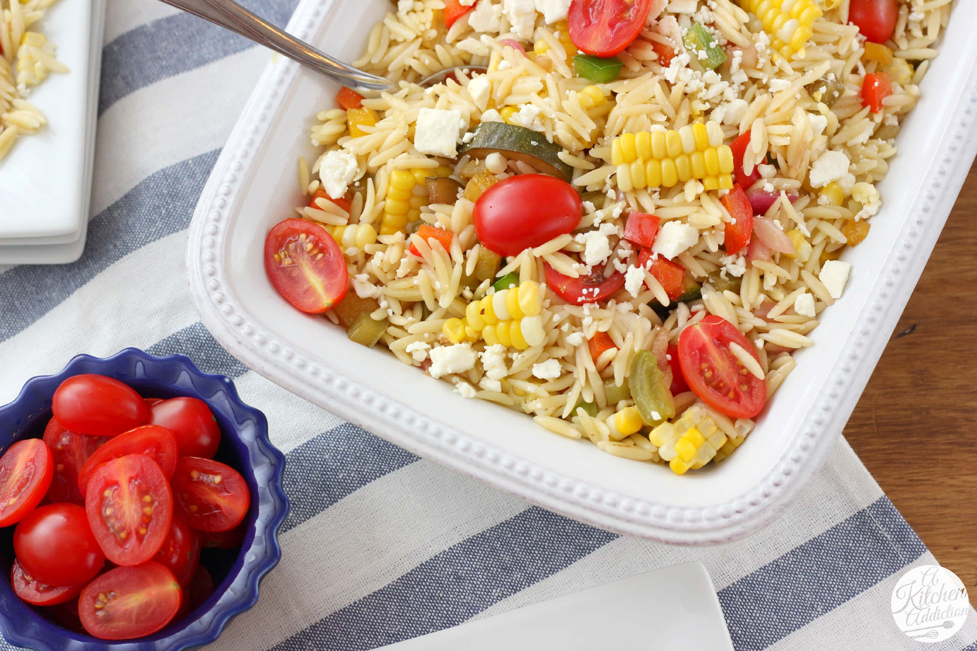 Fresh Corn and Tomato Orzo Salad Recipe from A Kitchen Addiction