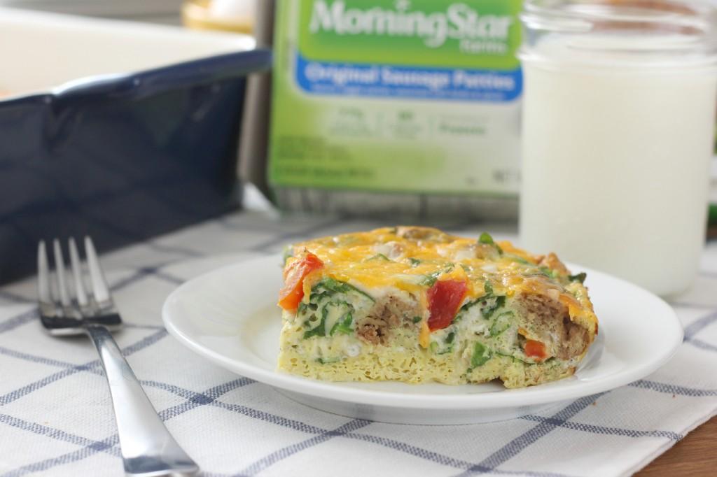 Lighter Sausage and Veggie Breakfast Casserole Recipe {Vegetarian} l www.a-kitchen-addiction.com