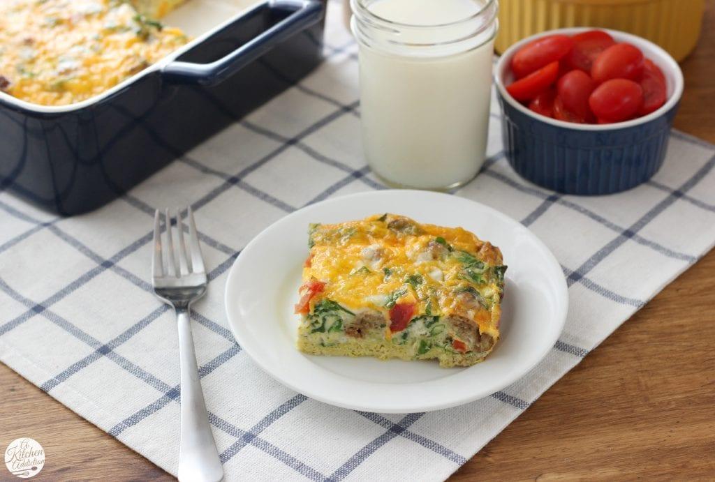 Lighter Sausage and Veggie Breakfast Casserole Recipe {Vegetarian} from www.a-kitchen-addiction.com