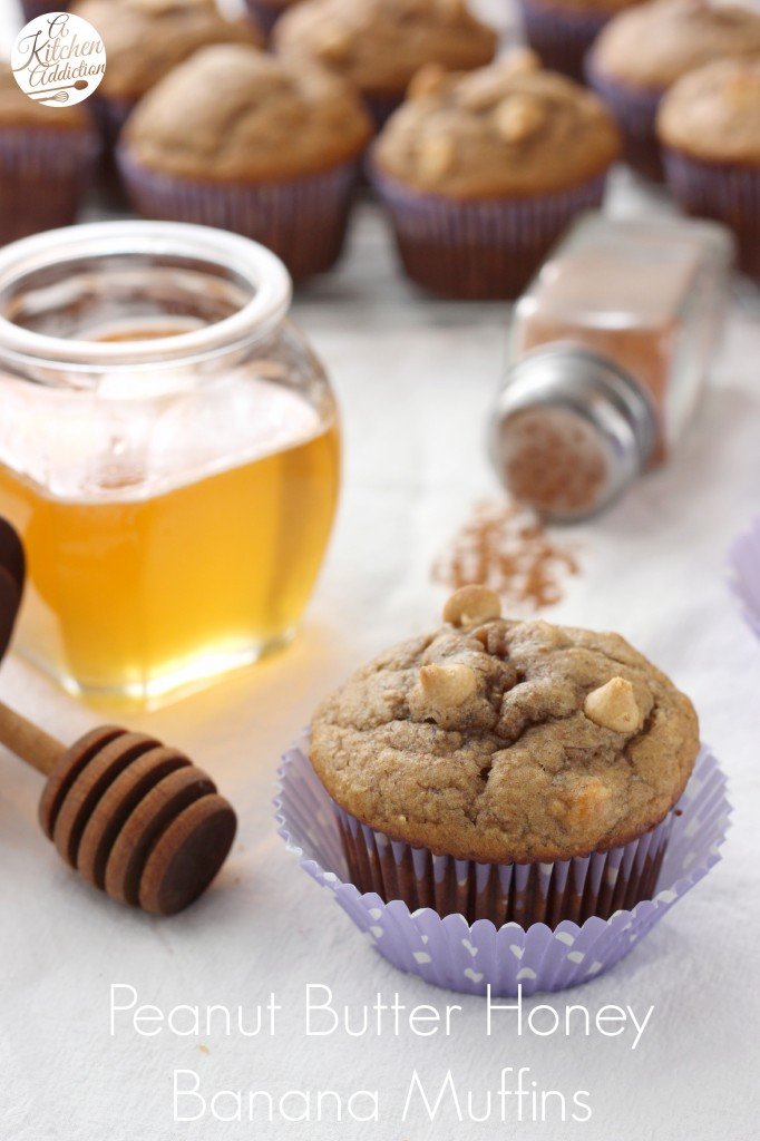 Peanut Butter Honey Banana Muffins Recipe from A Kitchen Addiction