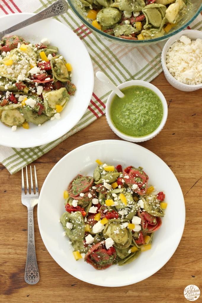 Quick and Easy Pesto Tortellini Salad Recipe from A Kitchen Addiction