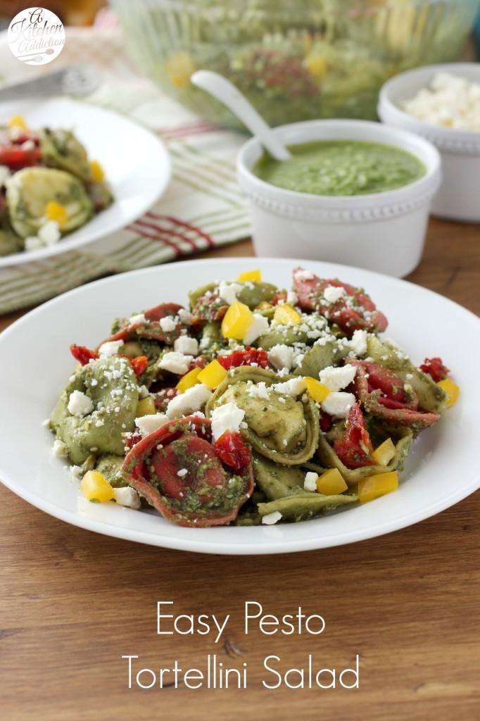 Easy Pesto Tortellini Salad Recipe from A Kitchen Addiction