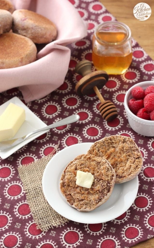 Whole Wheat Cinnamon Raspberry English Muffins Recipe from A Kitchen Addiction