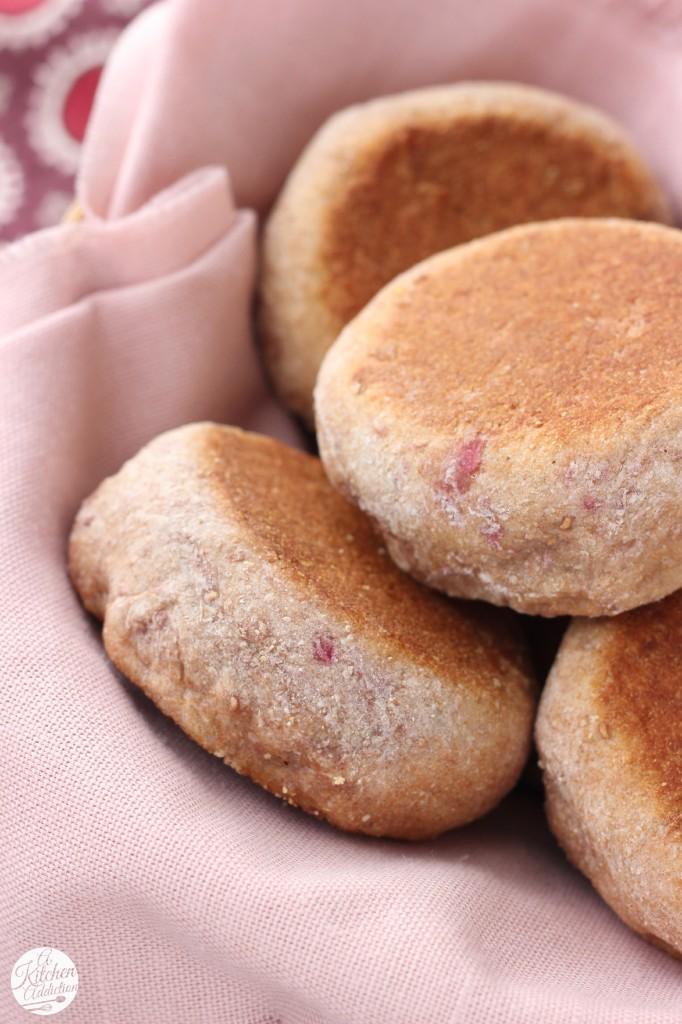 Whole Wheat Cinnamon Raspberry English Muffins Recipe l www.a-kitchen-addiction.com