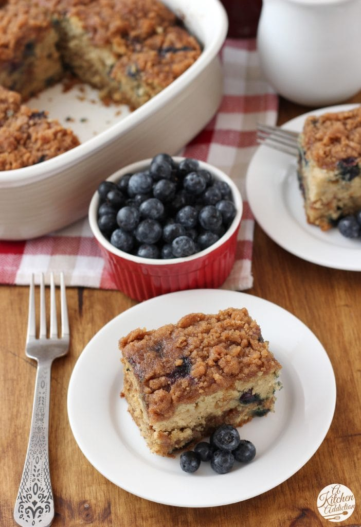 Cinnamon Swirl Blueberry Coffee Cake Recipe from A Kitchen Addiction
