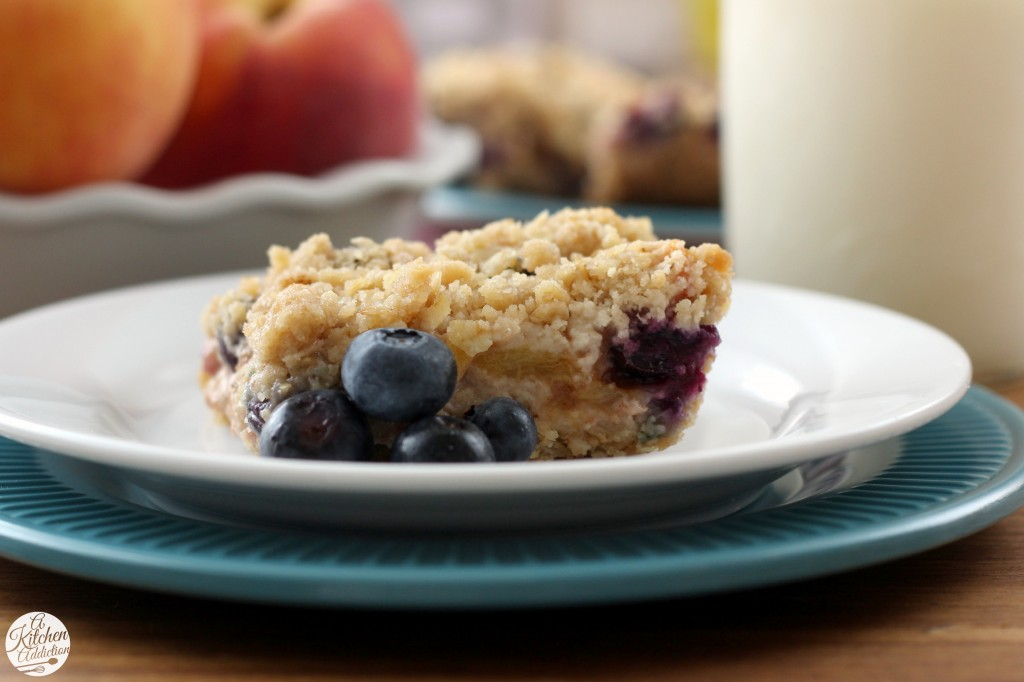 Blueberry Peach Streusel Bars Recipe from A Kitchen Addiction