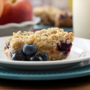 Blueberry Peach Streusel Bars