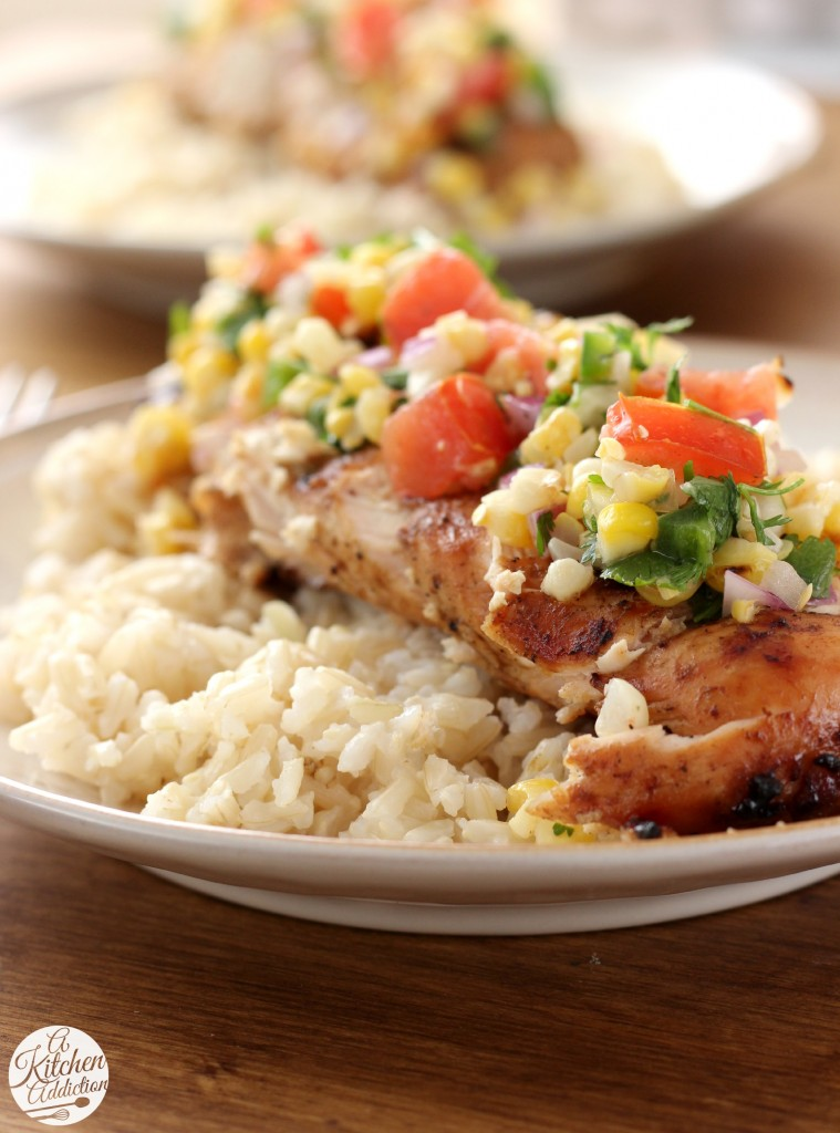 Grilled Honey Lime Chicken and Corn Salsa Recipe from www.a-kitchen-addiction.com