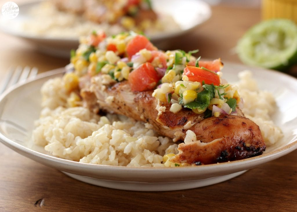 Grilled Honey Lime Chicken and Corn Salsa Recipe l www.a-kitchen-addiction.com