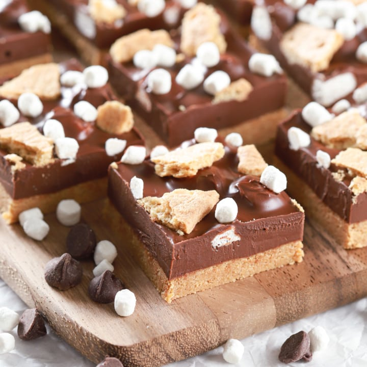 No Bake Peanut Butter Smores Bars on a wooden cutting board