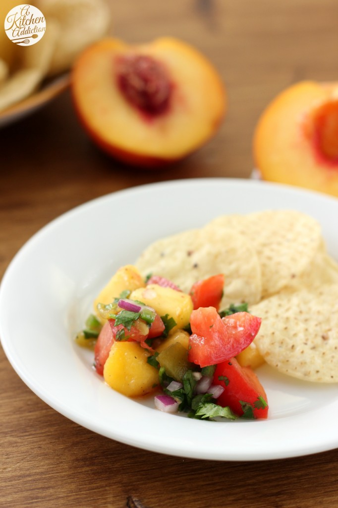Homemade Peach Salsa Recipe from A Kitchen Addiction