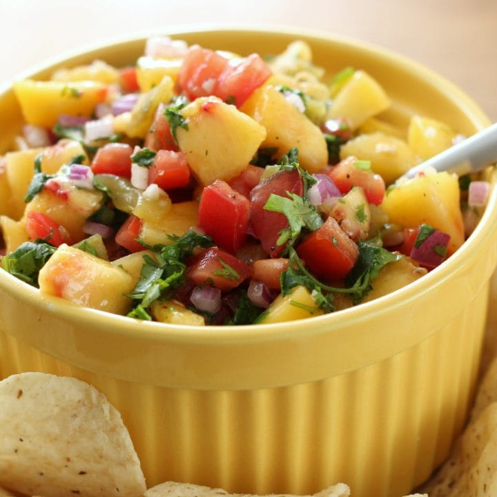 Homemade Peach Salsa Recipe l www.a-kitchen-addiction.com