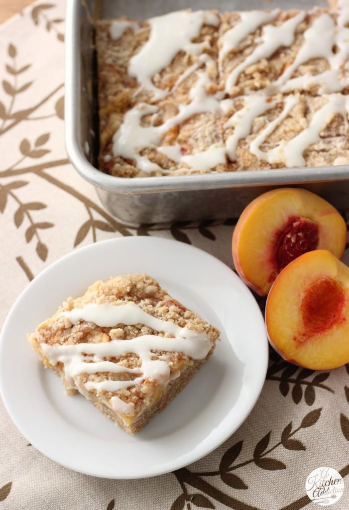 Peaches and Cream Cheese Coffee Cake Recipe l www.a-kitchen-addiction.com