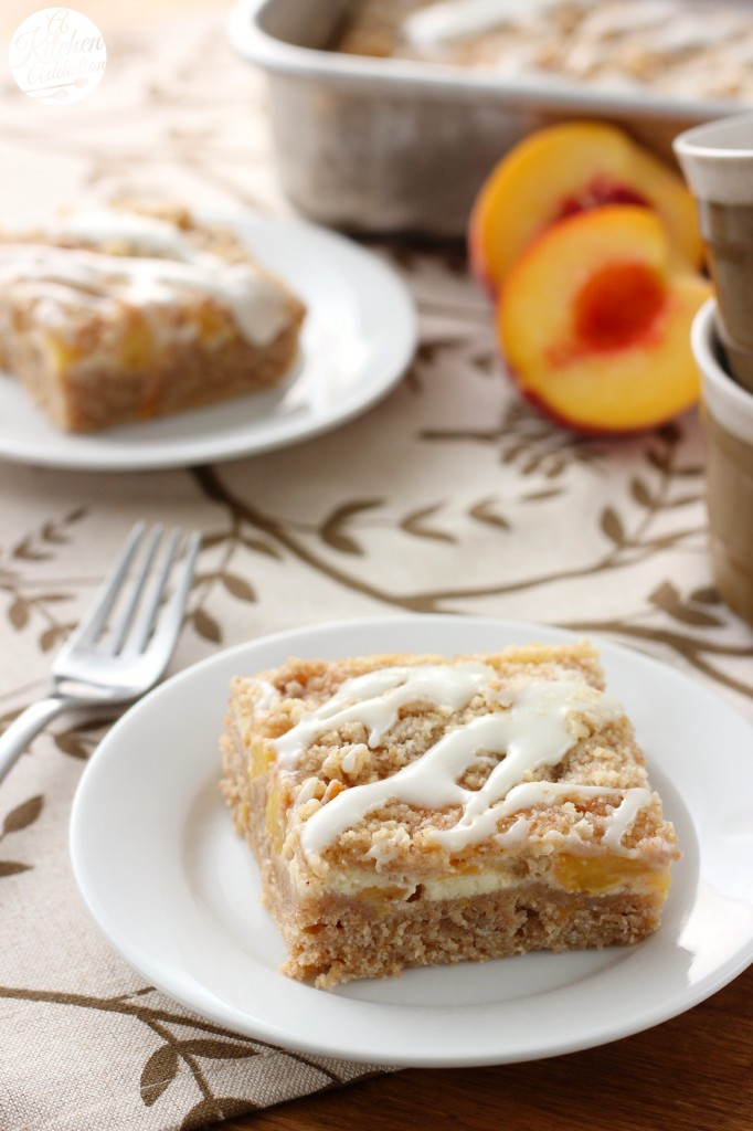 Peaches and Cream Cheese Coffee Cake Recipe l www.a-kitchen-addiction.com