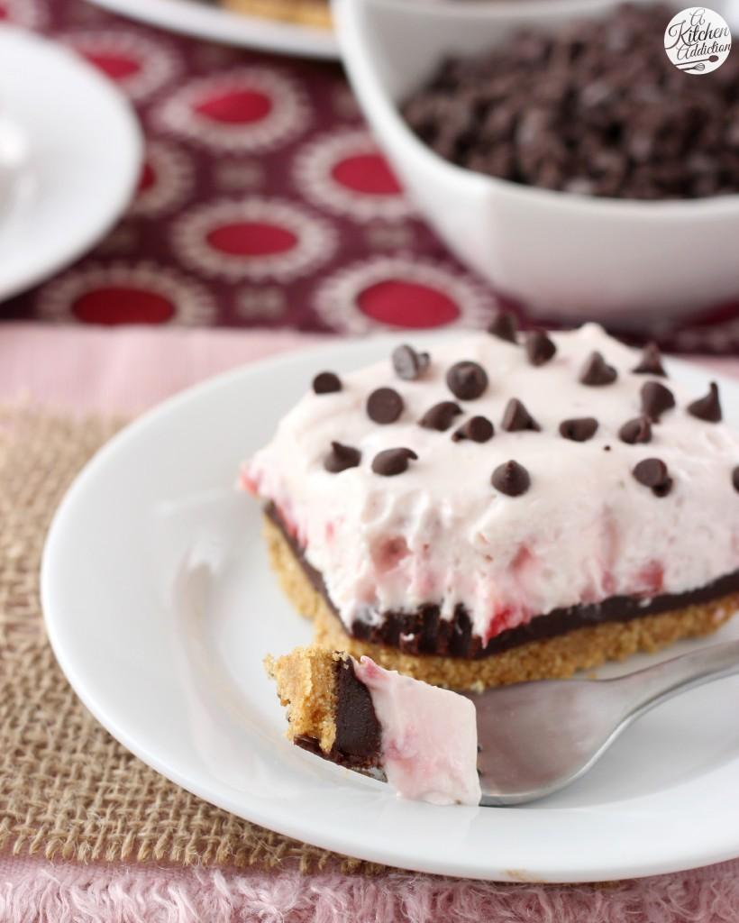 Strawberry Chocolate Ganache Cheesecake Bars Recipe l www.a-kitchen-addiction.com