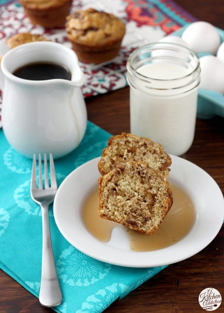 Cinnamon Maple Pancake Muffins Recipe l www.a-kitchen-addiction.com