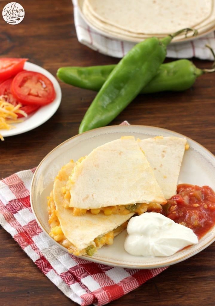 Roasted Hatch Chile and Sweet Corn Quesadillas Recipe l www.a-kitchen-addiction.com