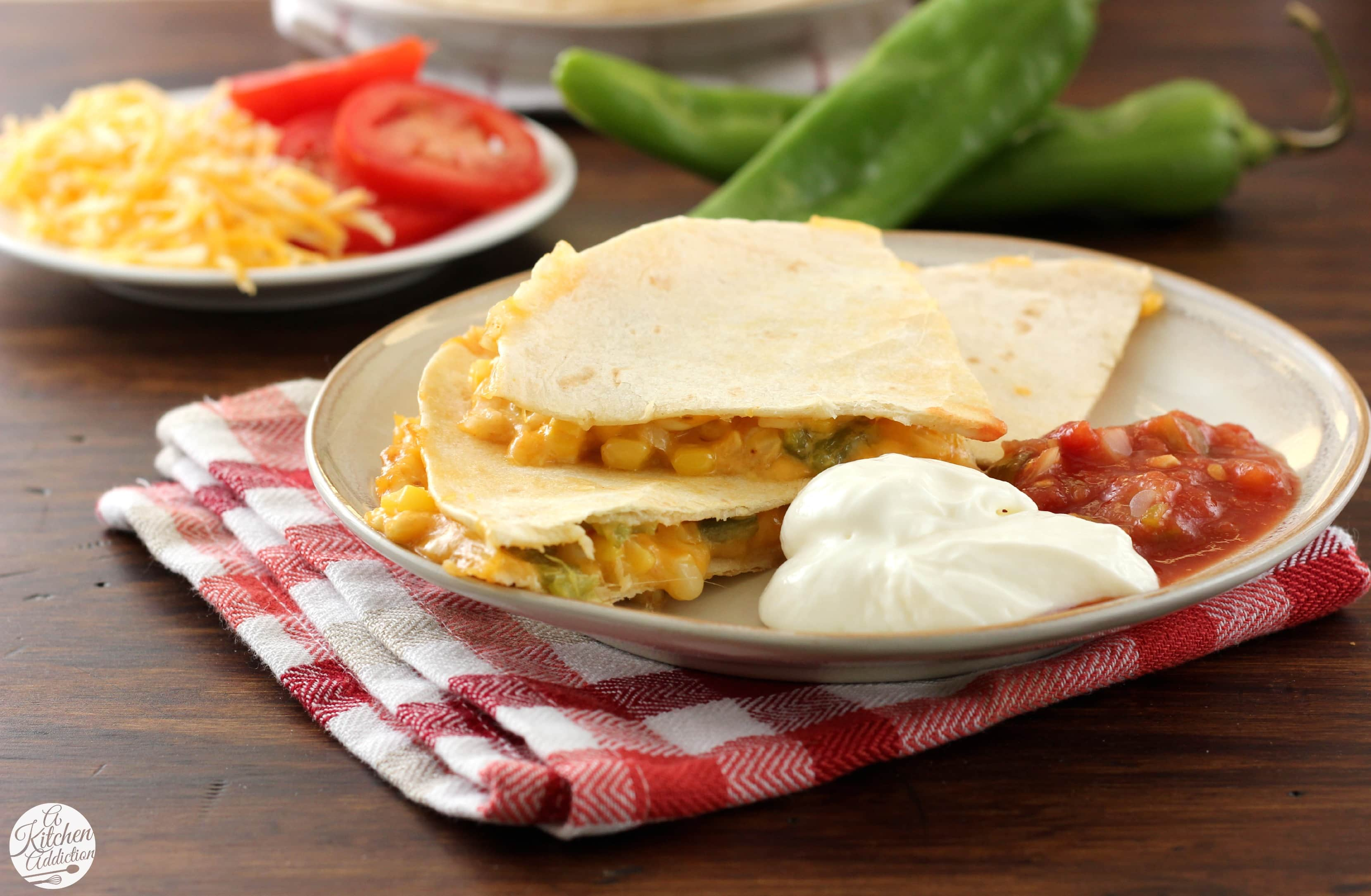 Roasted Hatch Chile and Sweet Corn Quesadillas Recipe l www.a-kitchen ...