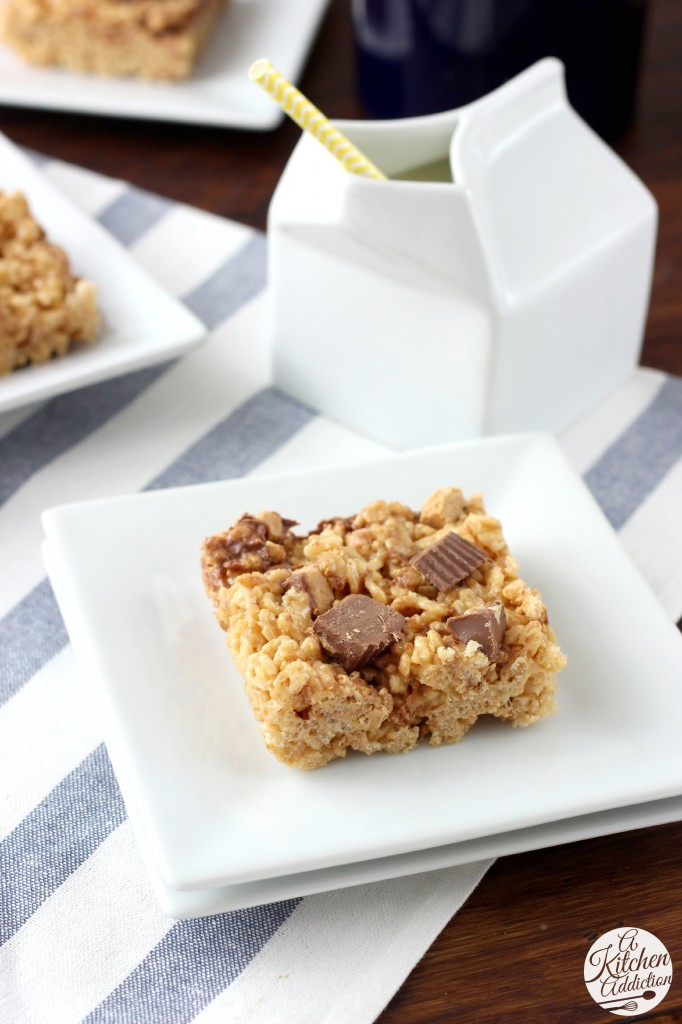 Peanut Butter Cup Rice Crispy Treats Recipe l www.a-kitchen-addiction.com