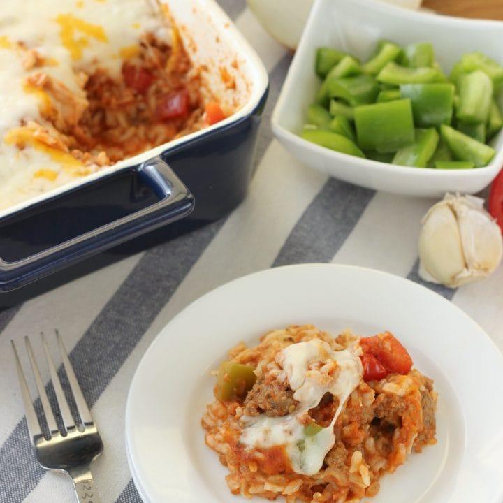 Lightened Up Stuffed Pepper Casserole Recipe l www.a-kitchen-addiction.com