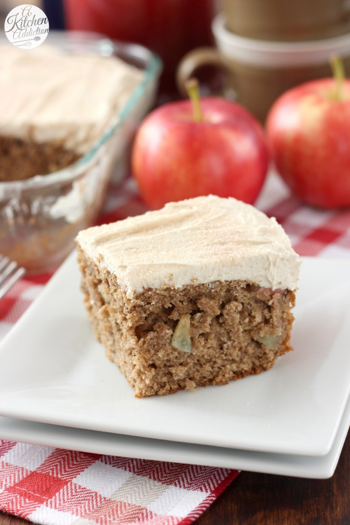 Apple Cake with Maple Buttercream Frosting Recipe l www.a-kitchen-addiction.com