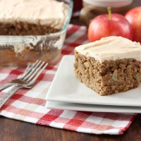 Apple Cake with Maple Frosting Recipe l www.a-kitchen-addiction.com
