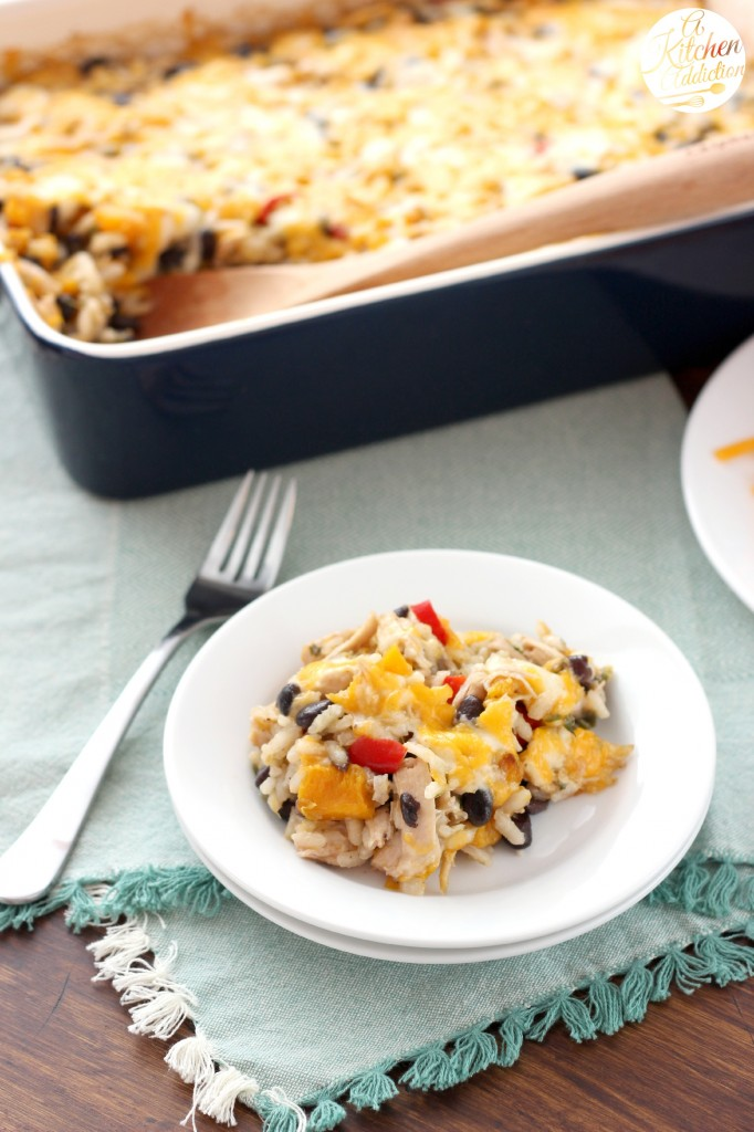 Cheesy Jalapeno Rice Bake with Roasted Squash and Chicken Recipe l www.a-kitchen-addiction.com